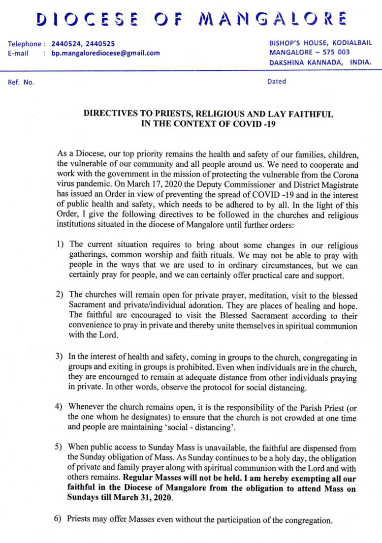 Directives from Bishop to all the churches of Mangalore Diocese on COVID 19