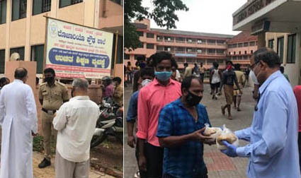 Mangaluru : Bishop meets migrant workers at Rosario Cathedral