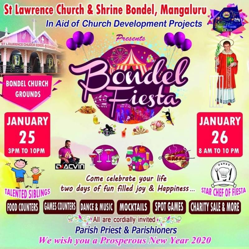 Mangaluru : St Lawrence Church to hold 'Bondel Fiesta' on Jan 25 & 26